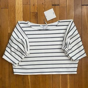 NWT Tibi Crop Top Black and White Stripes Sz. S